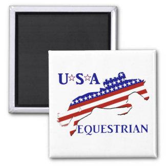 USA Equestrian 2 Inch Square Magnet