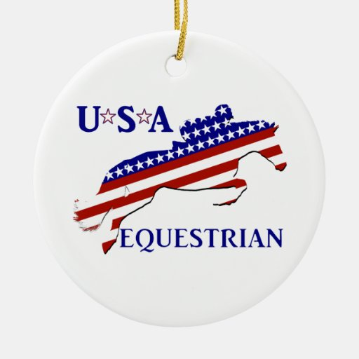 USA Equestrian Double-Sided Ceramic Round Christmas Ornament