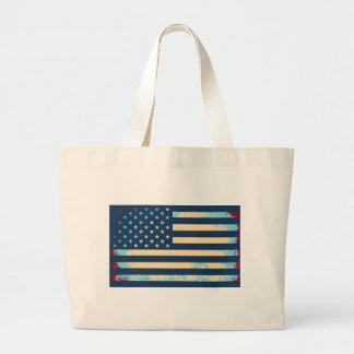 USA Faded Flag HQ Large Tote Bag