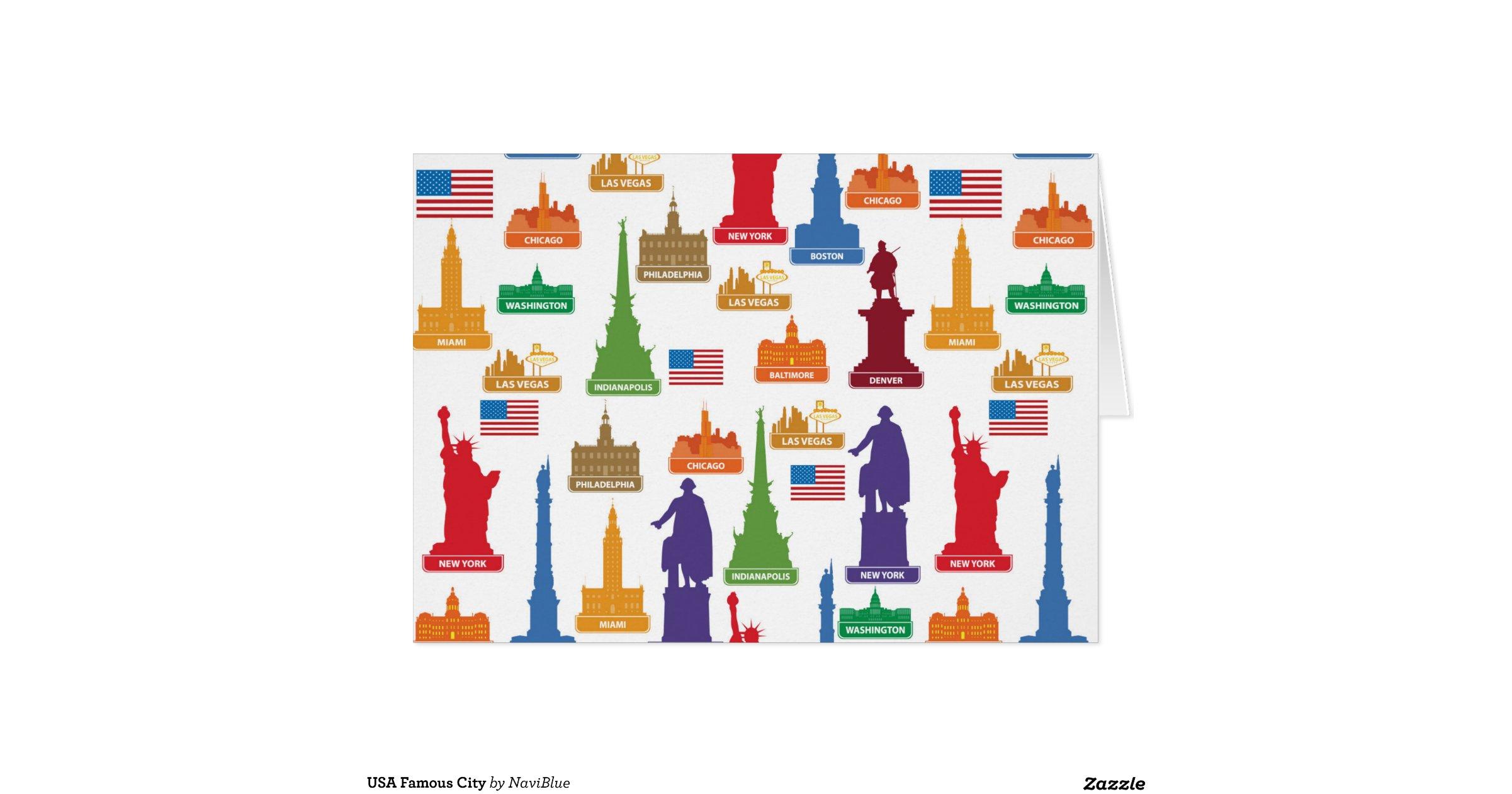 Usa famous city greeting card zazzle