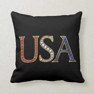 USA Faux Jewels Throw Pillow