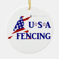 USA Fencing Ceramic Ornament