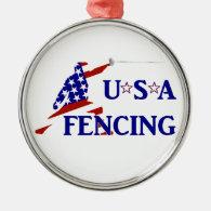 USA Fencing Metal Ornament