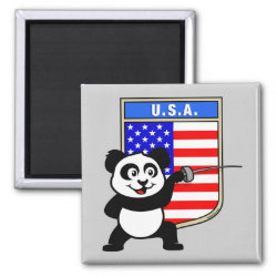 Square Magnet with American Fencing Panda design