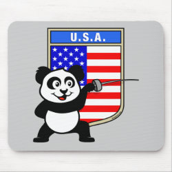 Mousepad with American Fencing Panda design