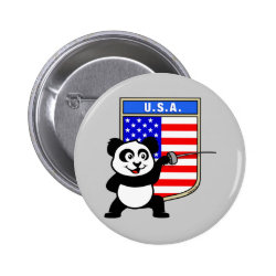 Round Button with American Fencing Panda design