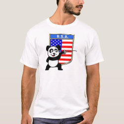 Men's Basic T-Shirt with American Fencing Panda design