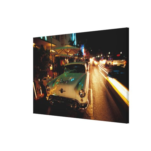 USA, FL, Miami, South Beach at night. 2 Stretched Canvas Prints