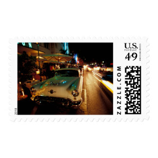 USA, FL, Miami, South Beach at night. 2 Stamps
