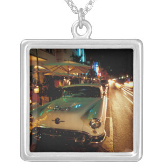 USA, FL, Miami, South Beach at night. 2 Silver Plated Necklace
