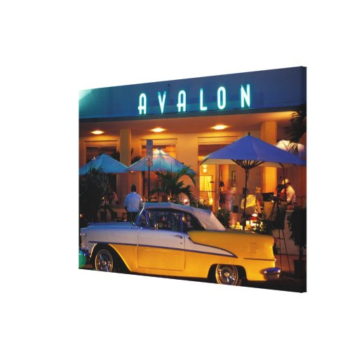 USA, FL, Miami, South Beach at night. Stretched Canvas Prints
