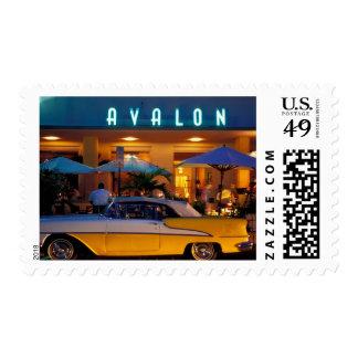 USA, FL, Miami, South Beach at night. Postage Stamp