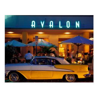 USA, FL, Miami, South Beach at night. Postcard