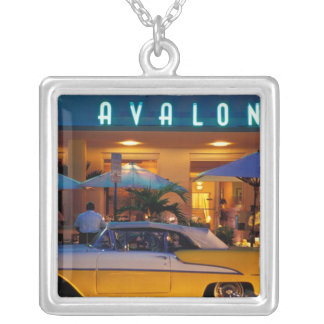 USA, FL, Miami, South Beach at night. Silver Plated Necklace