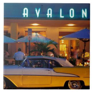 USA, FL, Miami, South Beach at night. Tile