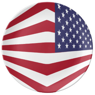 "Usa Flag 10.75"" Decorative Porcelain Plate"