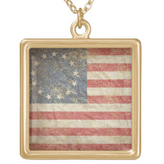 USA Flag 1776 Gold Plated Necklace