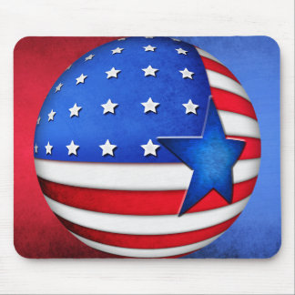 USA flag 3d globe Mouse Pad