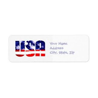 USA Flag Address Return Labels