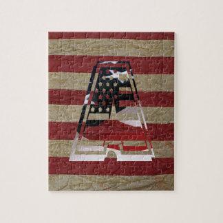 USA Flag American Initial Monogram A Jigsaw Puzzles