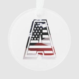 USA Flag American Initial Monogram A Ornament