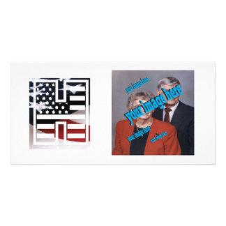 USA Flag American Initial Monogram H Card