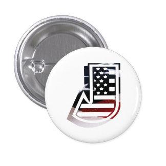 USA Flag American Initial Monogram J 1 Inch Round Button