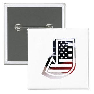 USA Flag American Initial Monogram J 2 Inch Square Button