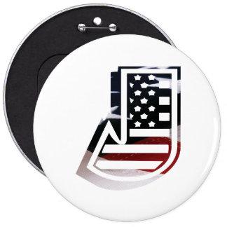 USA Flag American Initial Monogram J 6 Inch Round Button