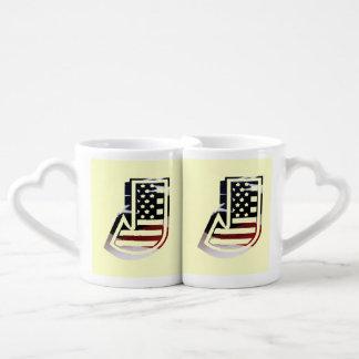 USA Flag American Initial Monogram J Couples' Coffee Mug Set