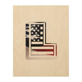 USA Flag American Initial Monogram L Wood Print