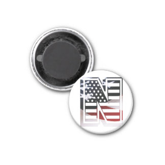 USA Flag American Initial Monogram N 1 Inch Round Magnet