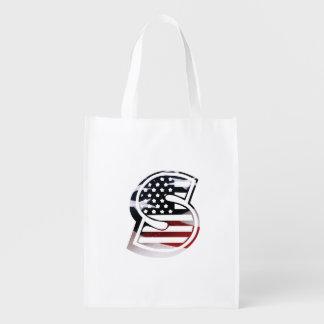 USA Flag American Initial Monogram S Market Totes