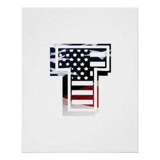 USA Flag American Initial Monogram T Perfect Poster