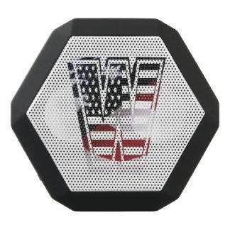 USA Flag American Initial Monogram W Black Bluetooth Speaker