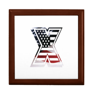 USA Flag American Initial Monogram X Jewelry Boxes