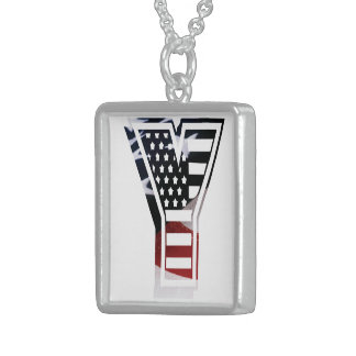 USA Flag American Initial Monogram Y Sterling Silver Necklace