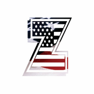 USA Flag American Initial Monogram Z Cutout