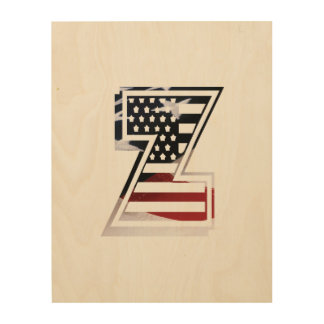 USA Flag American Initial Monogram Z Wood Wall Art