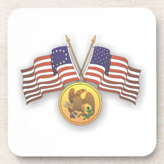 USA Flag & American Medal for US Independence Day Beverage Coaster