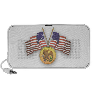 USA Flag & American Medal for US Independence Day Portable Speaker