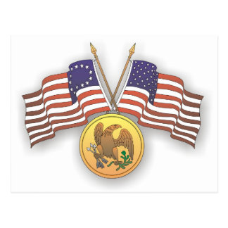 USA Flag & American Medal for US Independence Day Postcard