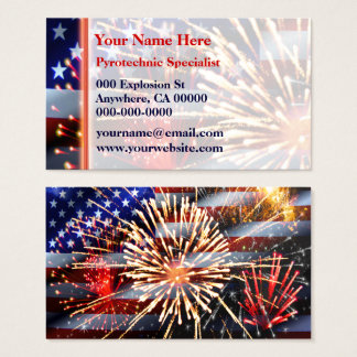 USA Flag and Fireworks Business Card