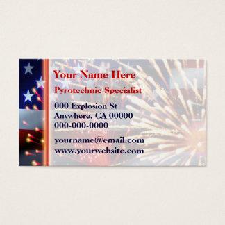 USA Flag and Fireworks Business Card