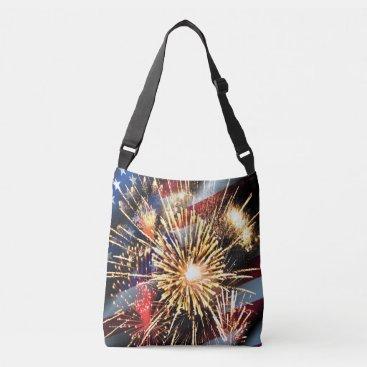 linda_mn USA Flag and Fireworks Crossbody Bag