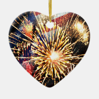 USA Flag and Fireworks Double-Sided Heart Ceramic Christmas Ornament