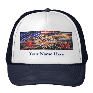 USA Flag and Fireworks Trucker Hat