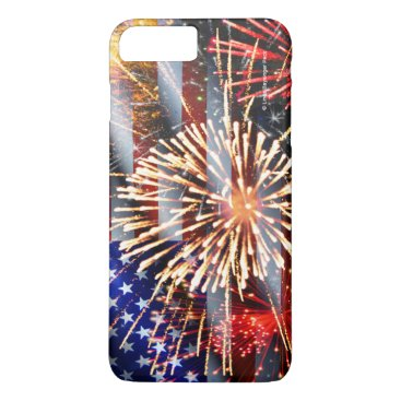 linda_mn USA Flag and Fireworks iPhone 7 Plus Case