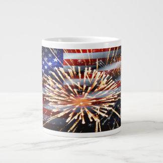USA Flag and Fireworks Large Coffee Mug