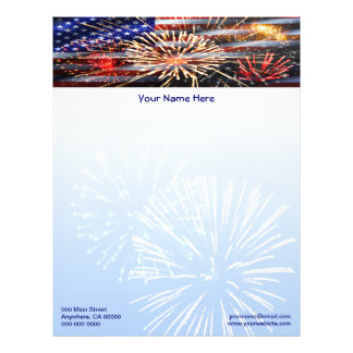 USA Flag and Fireworks Letterhead Template